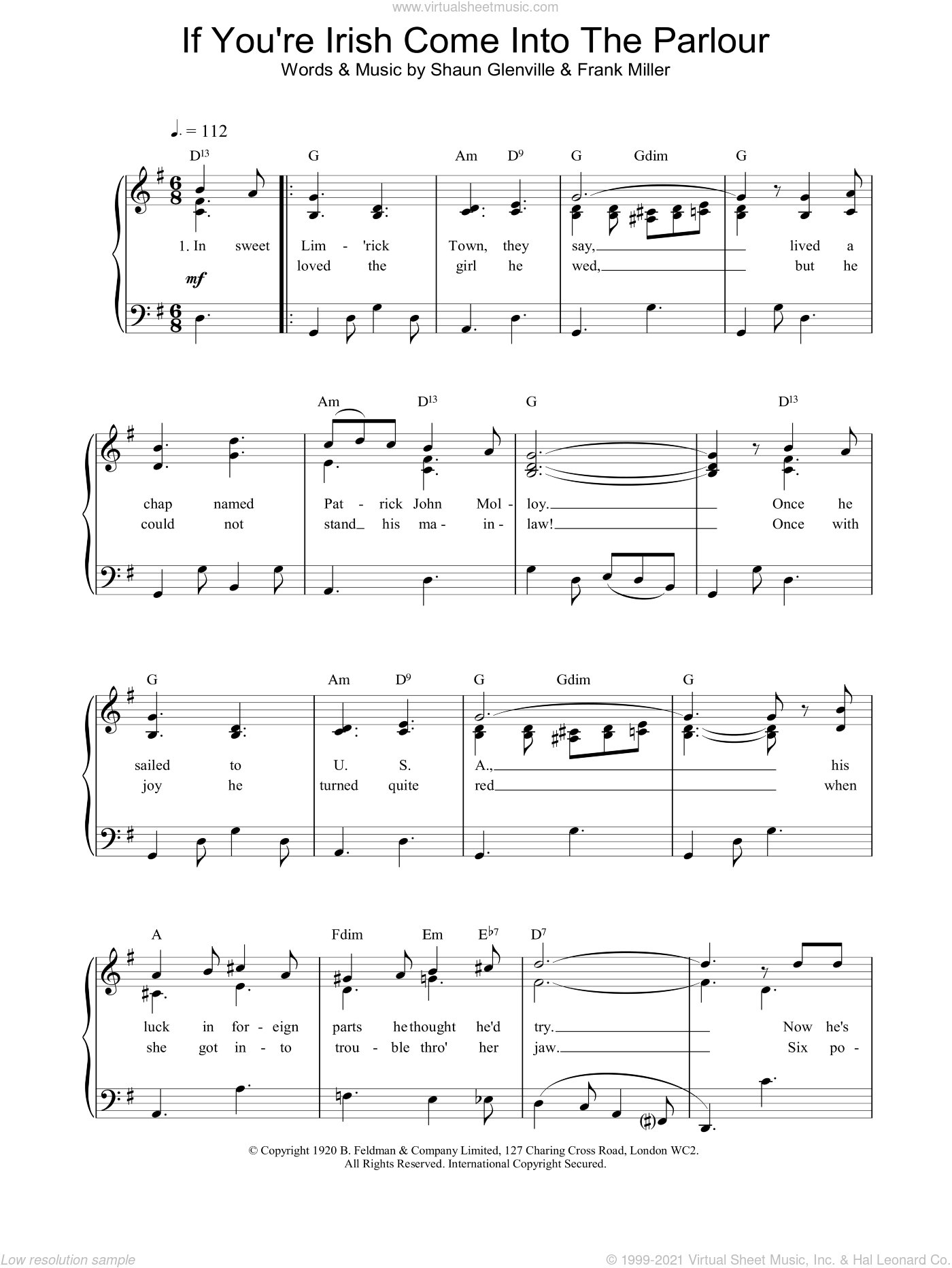 Glenville - If You\'re Irish Come Into The Parlour sheet music for ...