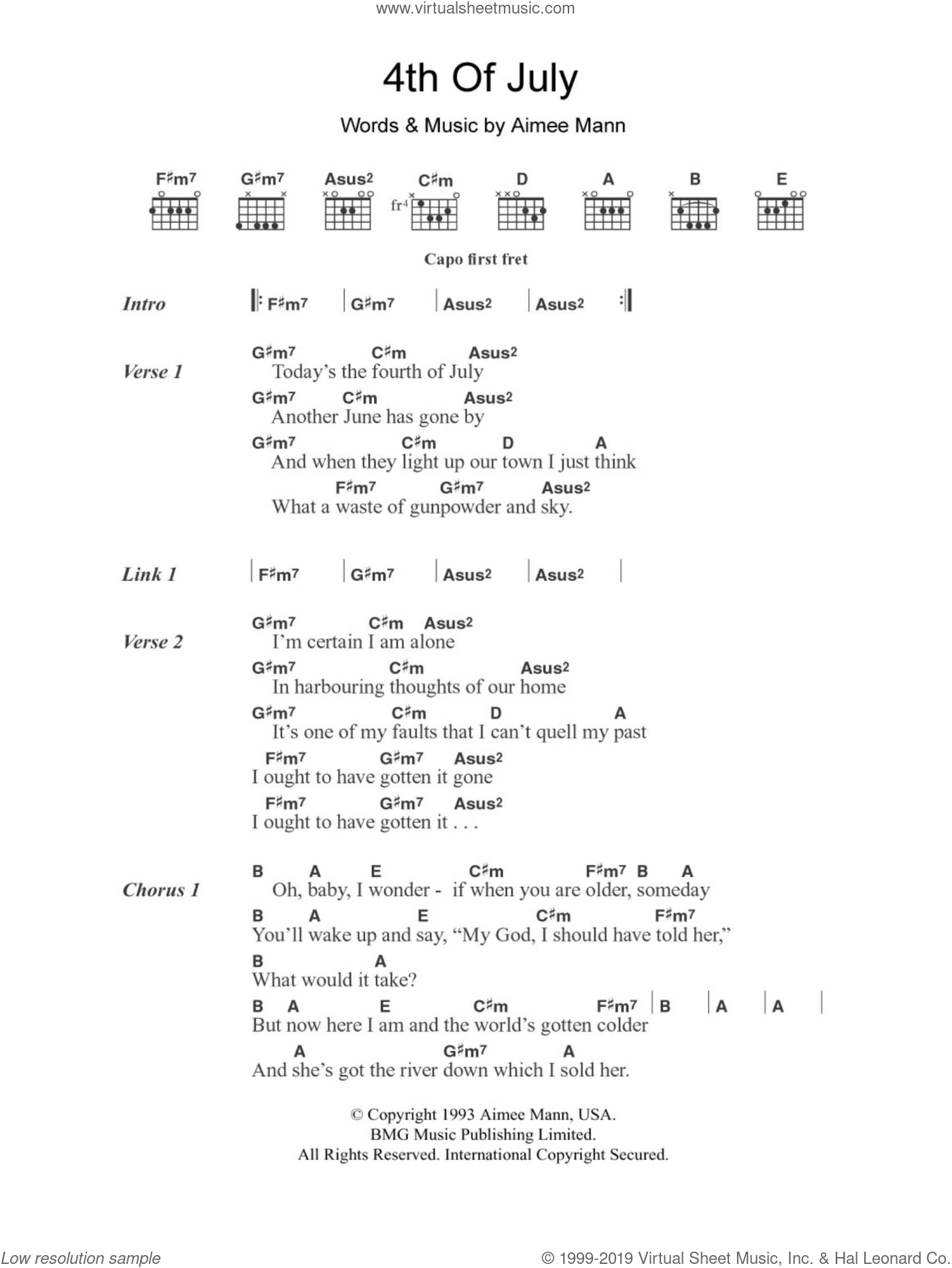 4th Of July sheet music for guitar (chords) by Aimee Mann, intermediate skill level