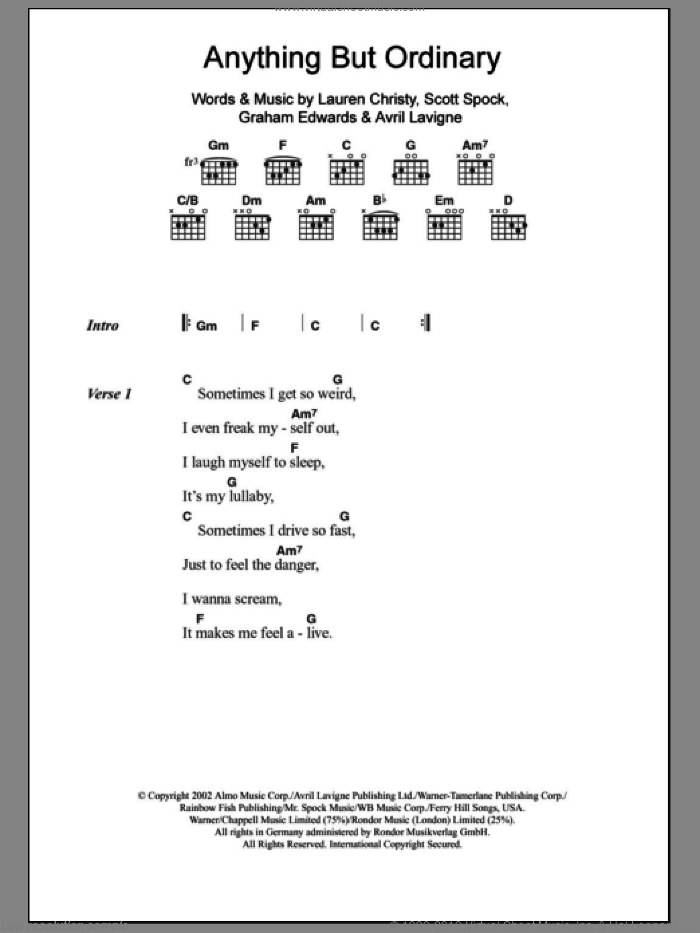 Anything But Ordinary sheet music for guitar (chords) by Avril Lavigne, intermediate guitar (chords). Score Image Preview.