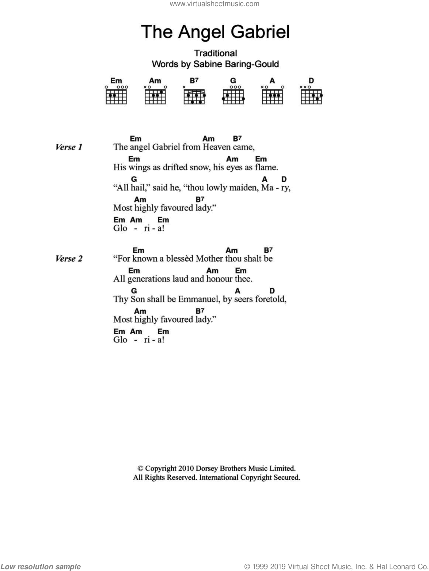 The Angel Gabriel sheet music for guitar (chords), Christmas carol score, intermediate guitar (chords). Score Image Preview.