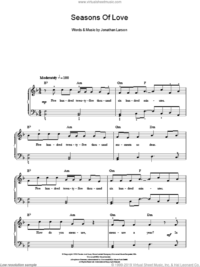 Seasons Of Love (from Rent), (easy) sheet music for piano solo by Jonathan Larson and Rent (Musical), wedding score, easy skill level