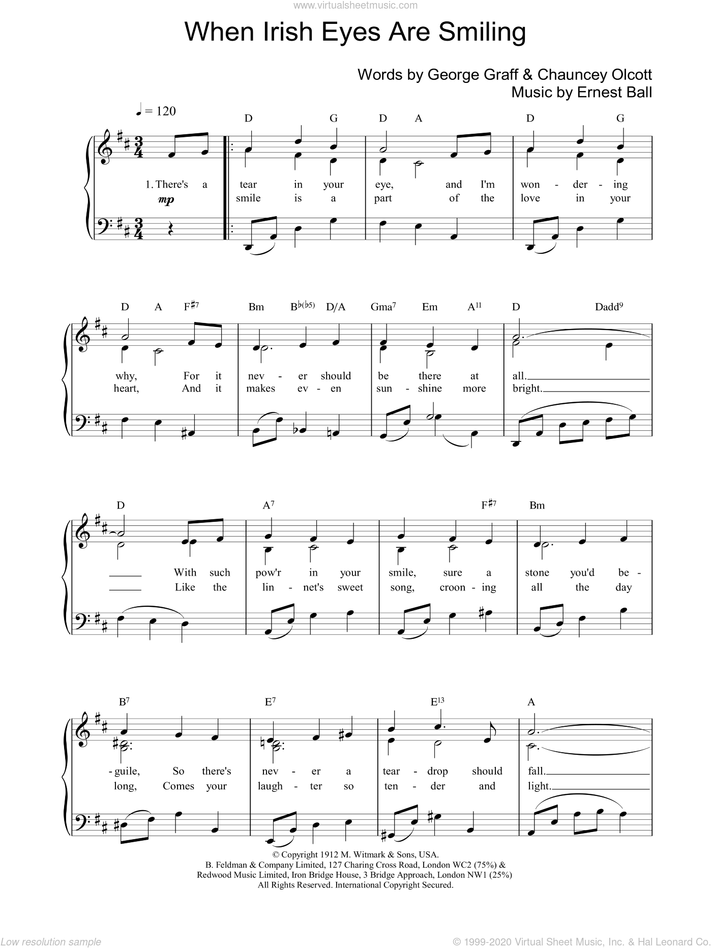 When Irish Eyes Are Smiling sheet music for voice, piano or guitar by Chauncey Olcott, intermediate skill level