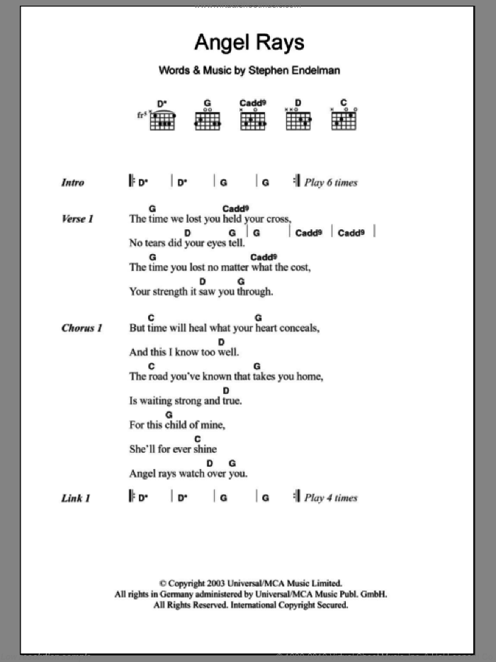 Angel Rays sheet music for guitar (chords) by Sissel and Stephen Endelman, intermediate