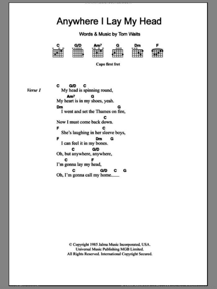 Waits - Anywhere I Lay My Head sheet music for guitar (chords)