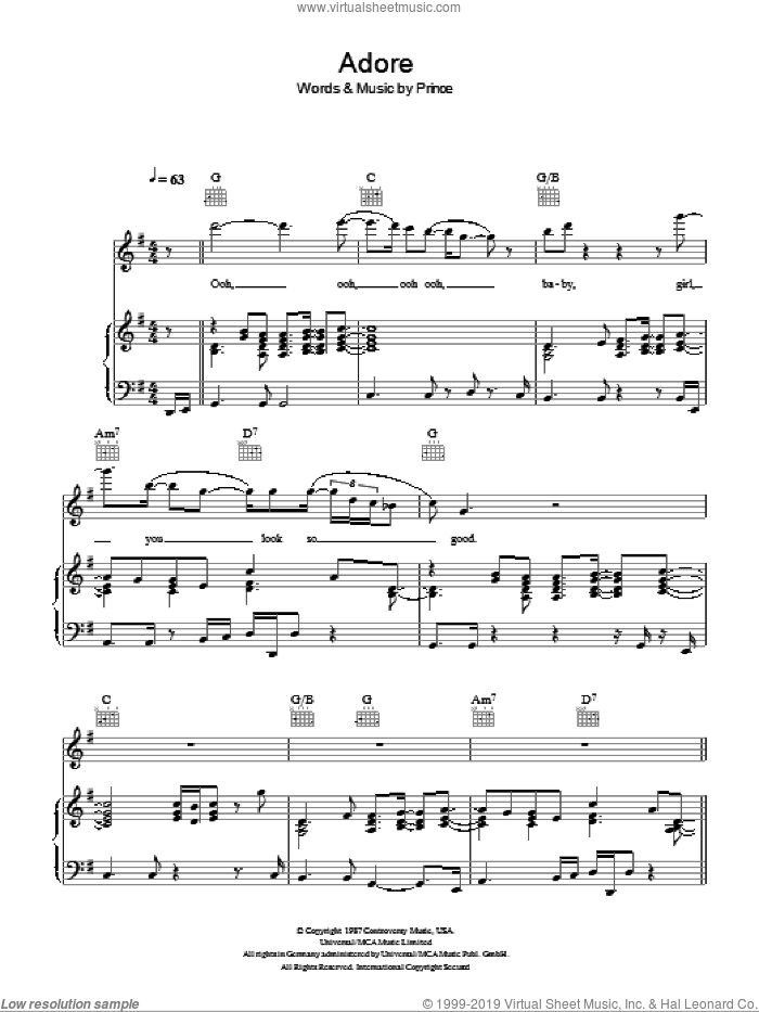 Adore sheet music for voice, piano or guitar by Prince