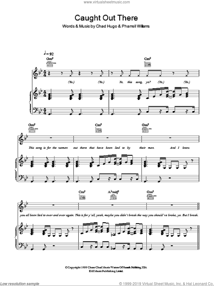 Caught Out There sheet music for voice, piano or guitar by Pharrell Williams and Chad Hugo. Score Image Preview.