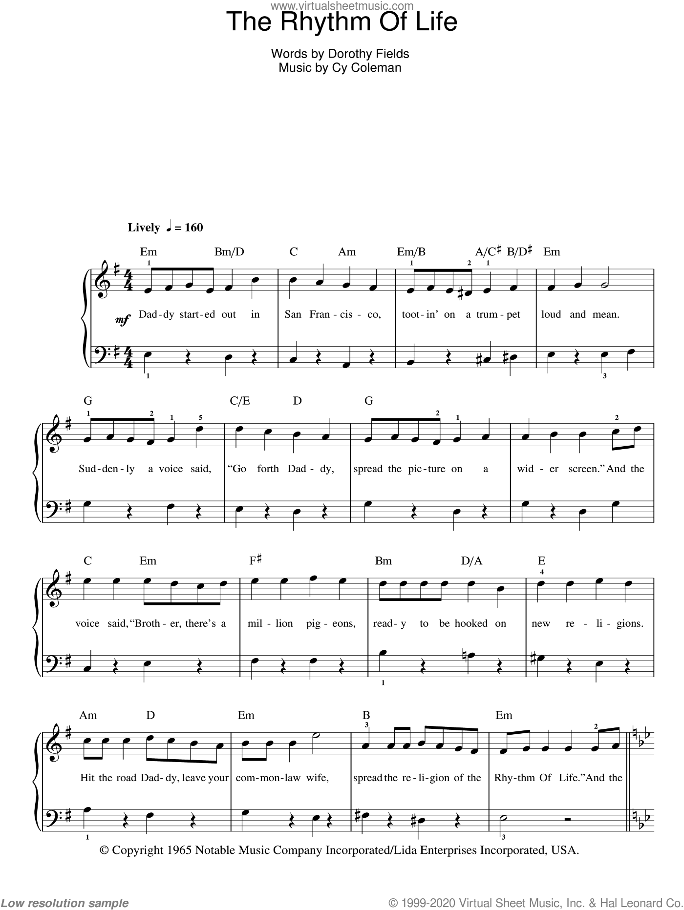 The Rhythm Of Life sheet music for piano solo by Cy Coleman and Dorothy Fields, easy. Score Image Preview.
