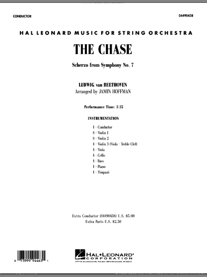 The Chase (Scherzo from Symphony No. 7) sheet music for orchestra (full score) by Ludwig van Beethoven