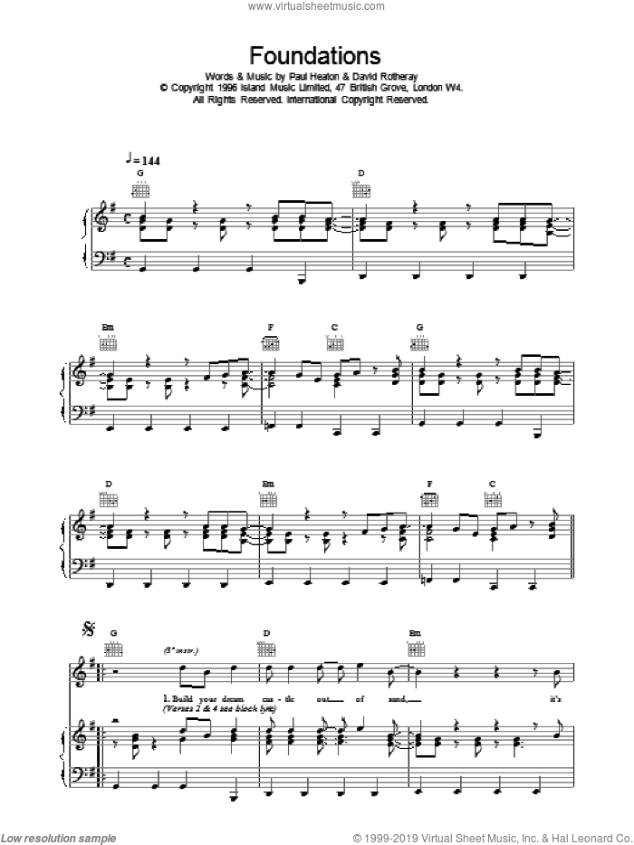 Foundations sheet music for voice, piano or guitar  and The Beautiful South. Score Image Preview.