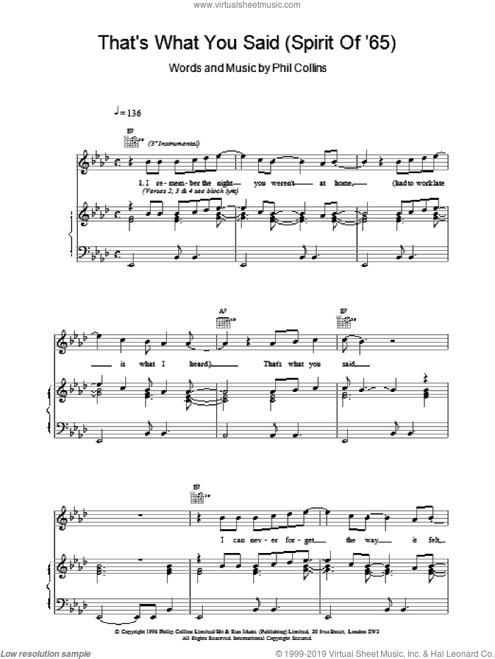 That's What You Said (Spirit Of '65) sheet music for voice, piano or guitar by Phil Collins, intermediate. Score Image Preview.