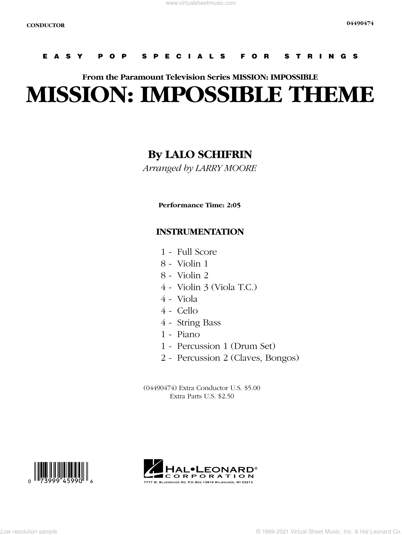 Mission: Impossible Theme sheet music for orchestra (full score) by Lalo Schifrin