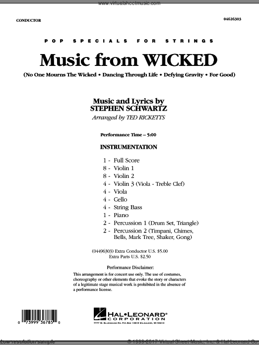 Music from Wicked (COMPLETE) sheet music for orchestra by Stephen Schwartz