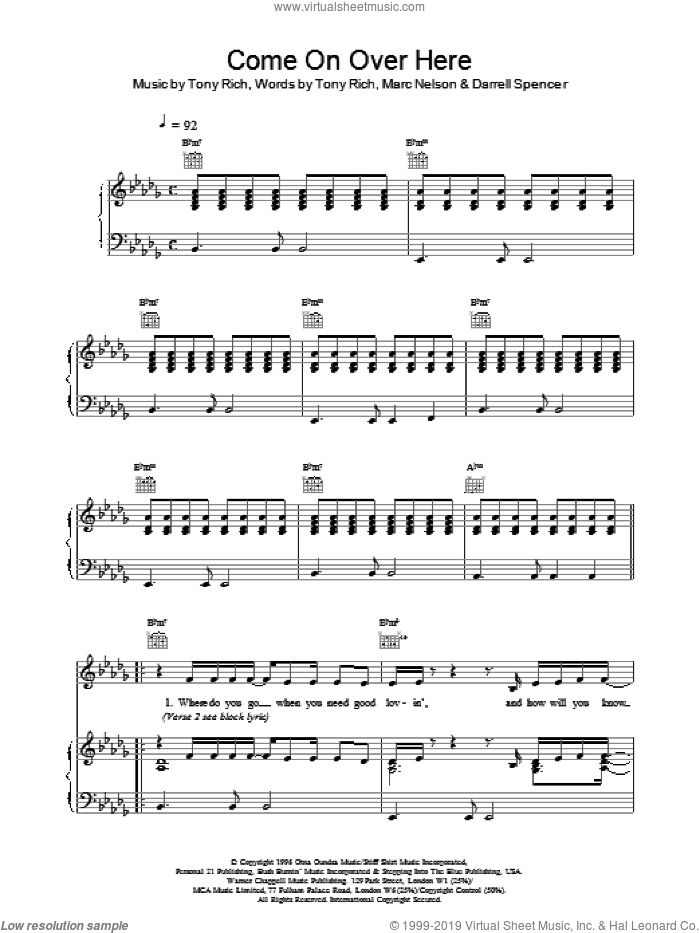 Come On Over Here sheet music for voice, piano or guitar by Toni Braxton, D SPENCER, M NELSON and Tony Rich, intermediate skill level