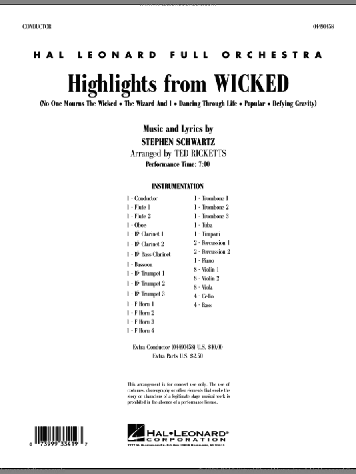 Highlights from Wicked (COMPLETE) sheet music for full orchestra by Stephen Schwartz and Ted Ricketts, intermediate skill level