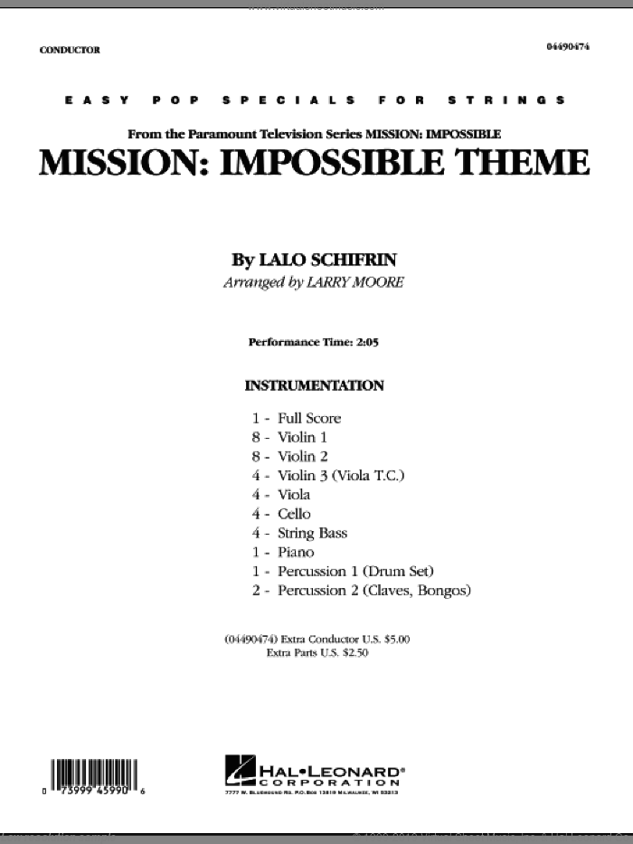 Mission: Impossible Theme (COMPLETE) sheet music for orchestra by Lalo Schifrin and Larry Moore, intermediate. Score Image Preview.