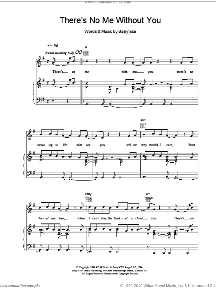 There's No Me Without You sheet music for voice, piano or guitar by Toni Braxton and Babyface, intermediate skill level