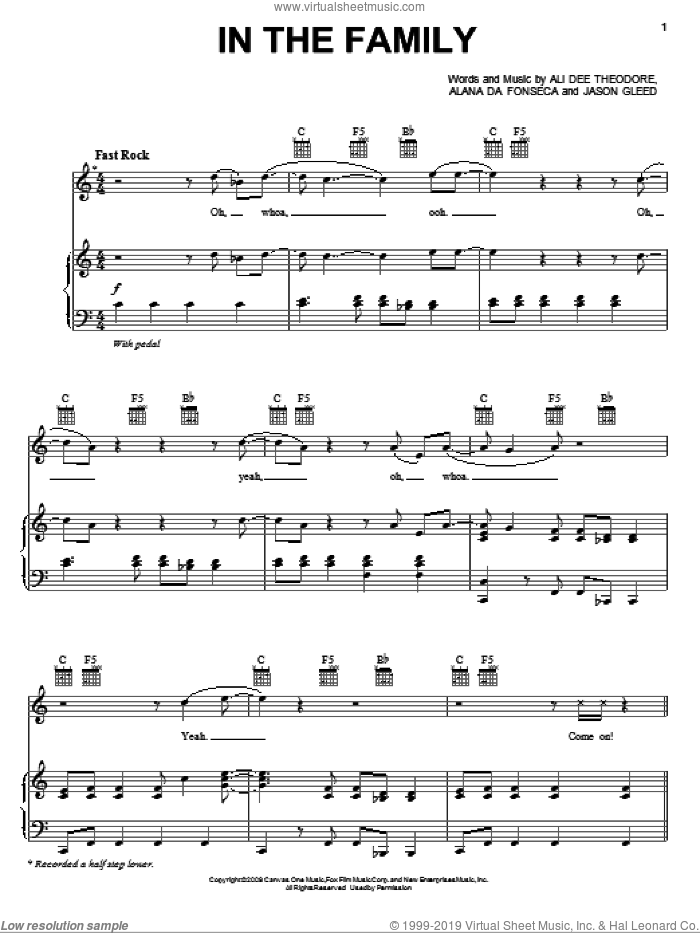 In The Family sheet music for voice, piano or guitar by Alvin And The Chipmunks, Alvin And The Chipmunks: The Squeakquel (Movie), Alana Da Fonseca, Ali Dee Theodore and Jason Gleed, intermediate skill level