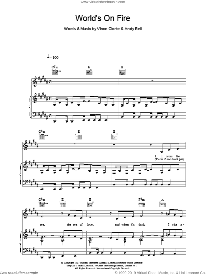 World's On Fire sheet music for voice, piano or guitar by Erasure. Score Image Preview.
