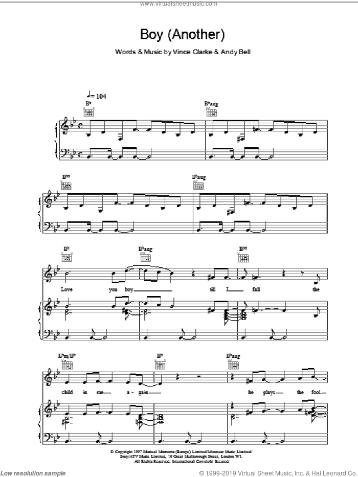 Boy (Another) sheet music for voice, piano or guitar by Erasure, intermediate. Score Image Preview.