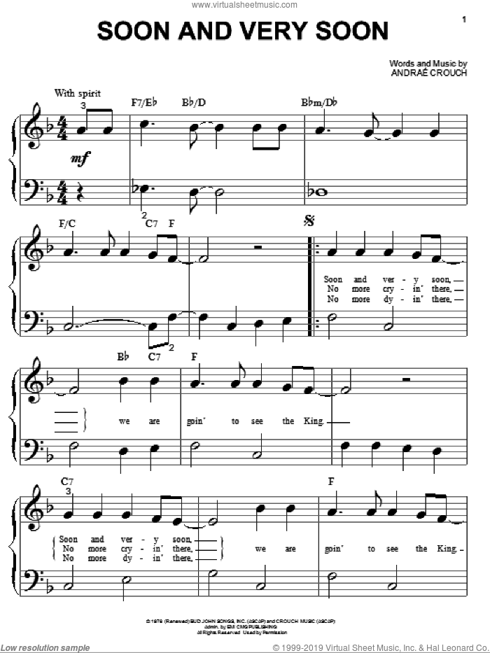 Soon And Very Soon sheet music for piano solo (big note book) by Andrae Crouch, easy piano (big note book). Score Image Preview.
