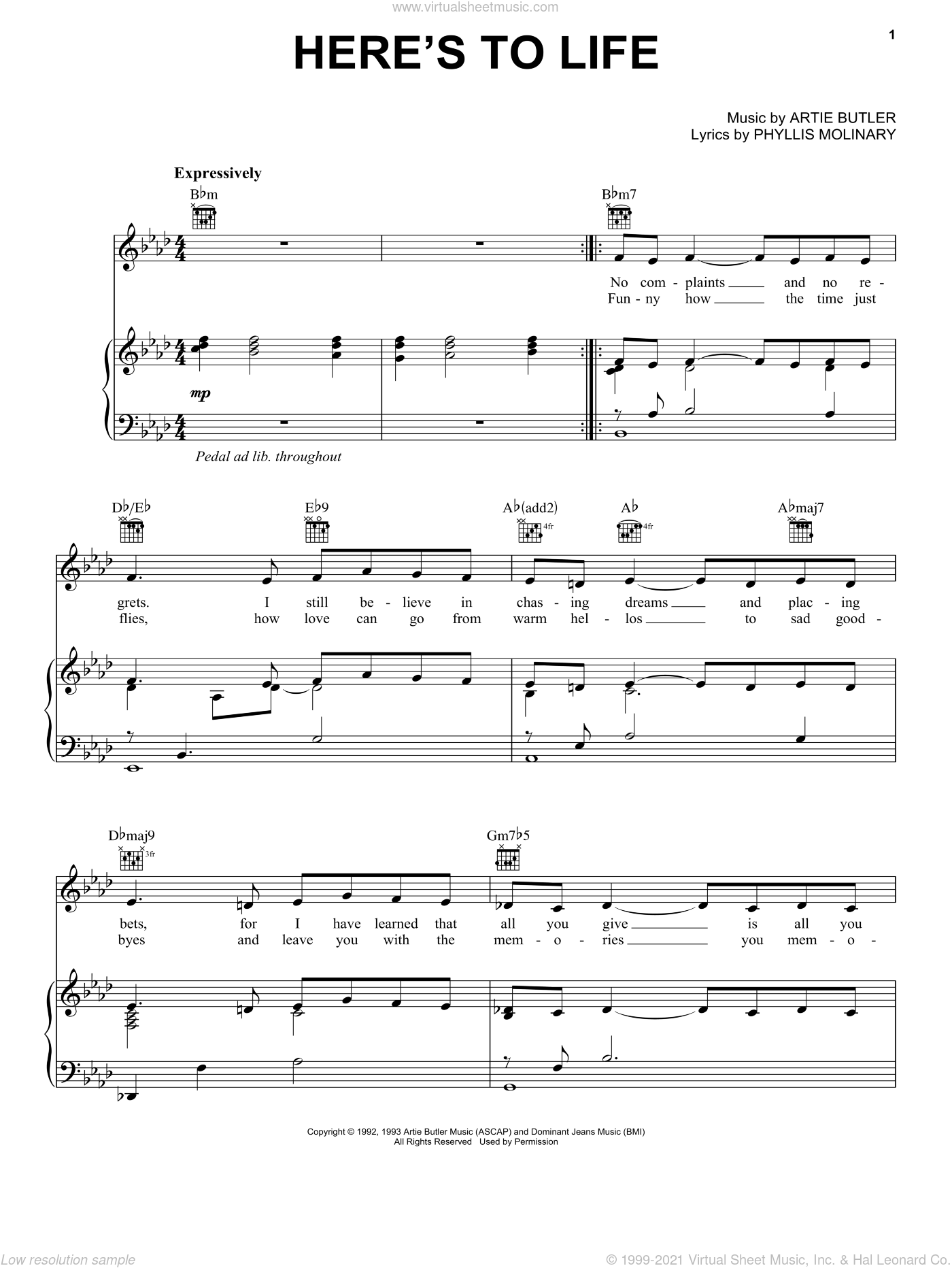 Here's To Life sheet music for voice, piano or guitar by Shirley Horn, Artie Butler and Phyllis Molinary, intermediate skill level