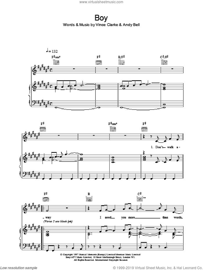 Boy sheet music for voice, piano or guitar by Erasure, Bell,Andy and Vince Clarke, intermediate. Score Image Preview.