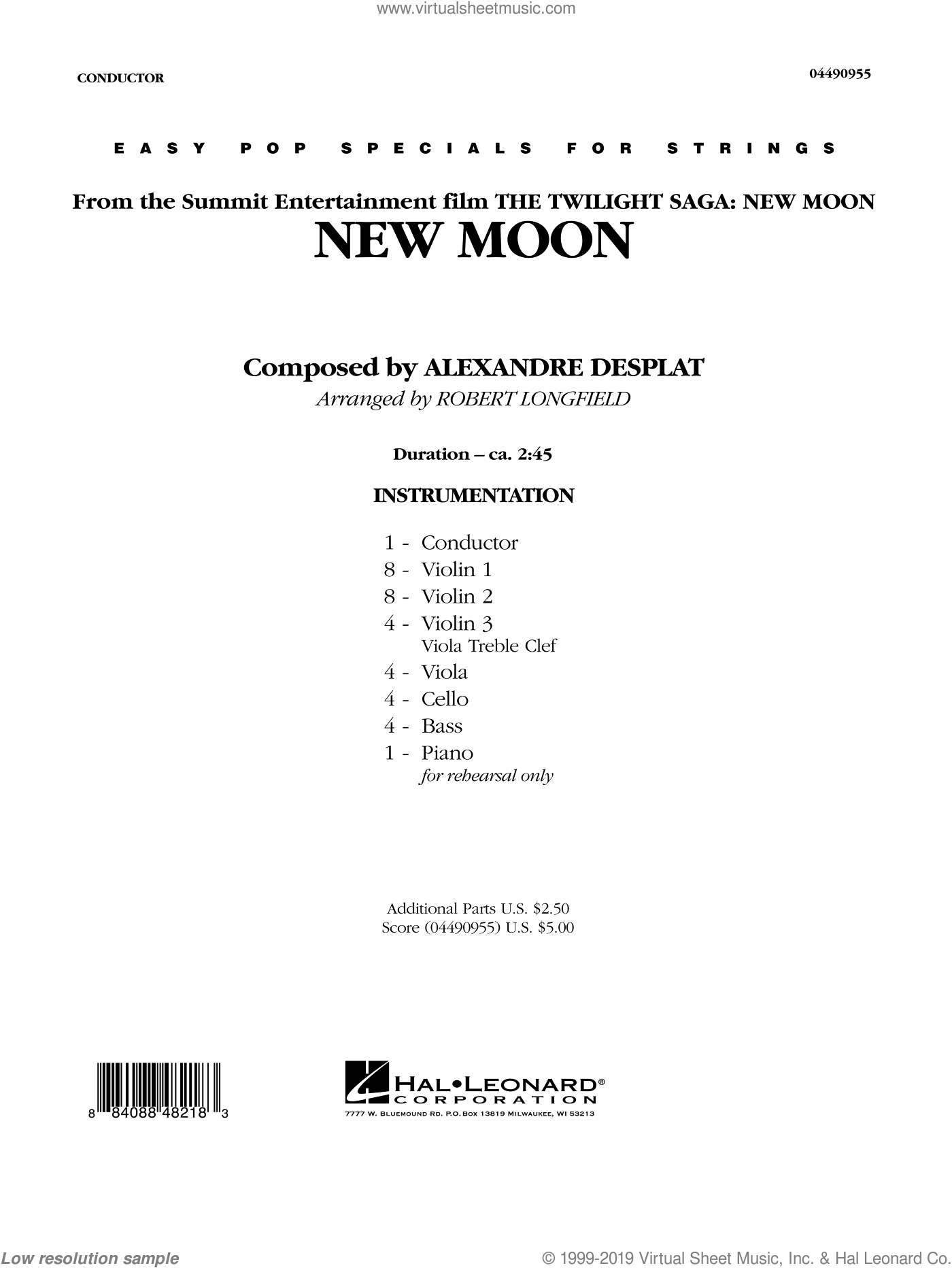 New Moon (The Meadow) (COMPLETE) sheet music for orchestra by Alexandre Desplat and Robert Longfield. Score Image Preview.