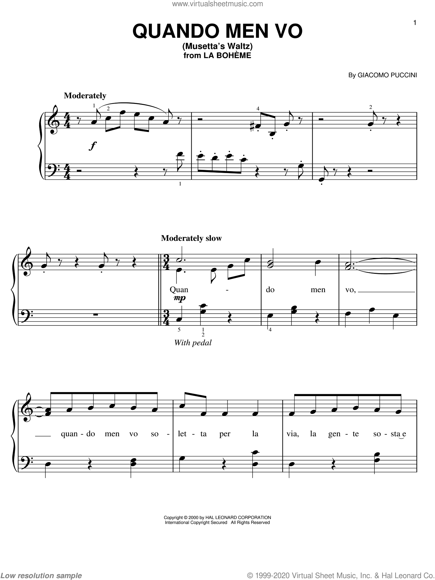 Quando Men Vo (Mussetta's Waltz) sheet music for piano solo by Giacomo Puccini, classical score, easy skill level