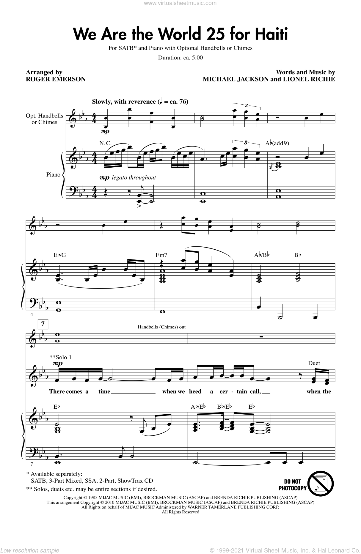 We Are The World 25 For Haiti sheet music for choir (SATB: soprano, alto, tenor, bass) by Michael Jackson, Lionel Richie, Artists For Haiti and Roger Emerson, intermediate skill level