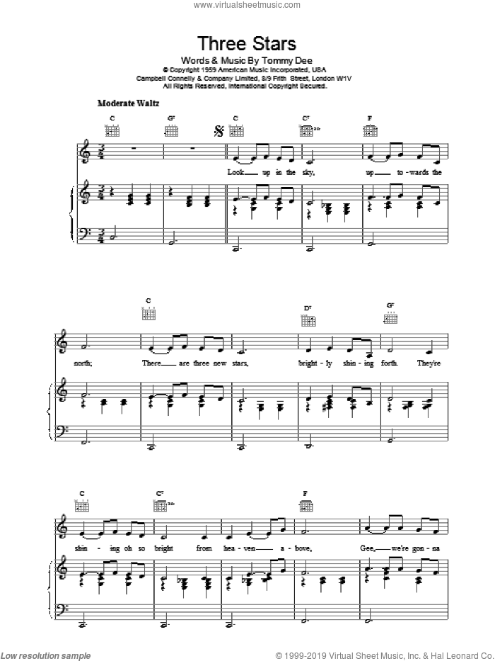 Three Stars sheet music for voice, piano or guitar by Tommy Dee