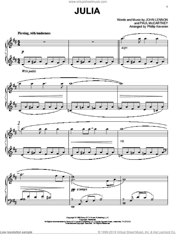 Julia sheet music for piano solo by Paul McCartney, Phillip Keveren, The Beatles and John Lennon. Score Image Preview.