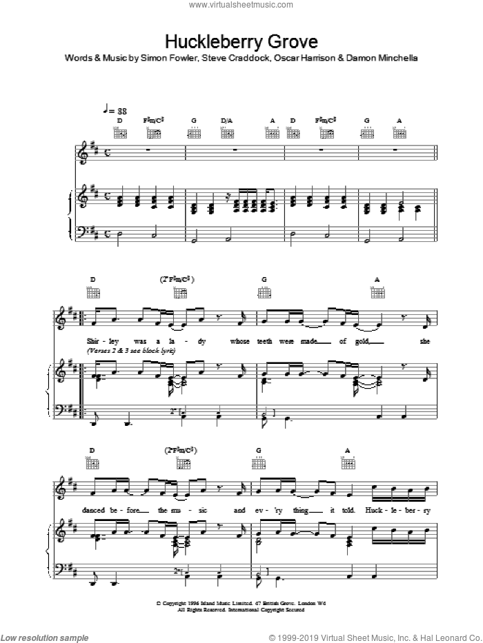 Huckleberry Grove sheet music for voice, piano or guitar by Ocean Colour Scene. Score Image Preview.