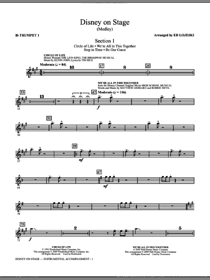 Disney On Stage (Medley) (complete set of parts) sheet music for orchestra/band by Ed Lojeski, intermediate. Score Image Preview.