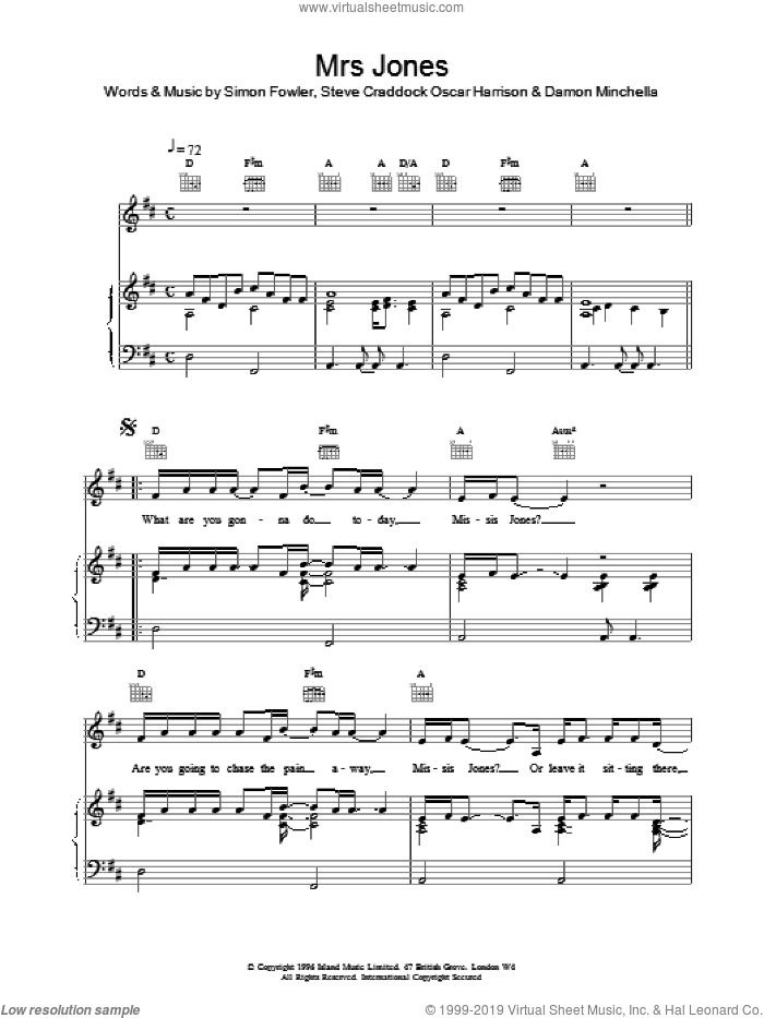 Mrs Jones sheet music for voice, piano or guitar by Ocean Colour Scene, Oscar Harrison, Simon Fowler and Steve Cradock, intermediate. Score Image Preview.