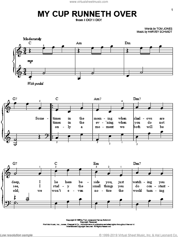 My Cup Runneth Over, (easy) sheet music for piano solo by Ed Ames, Harvey Schmidt and Tom Jones, wedding score, easy skill level