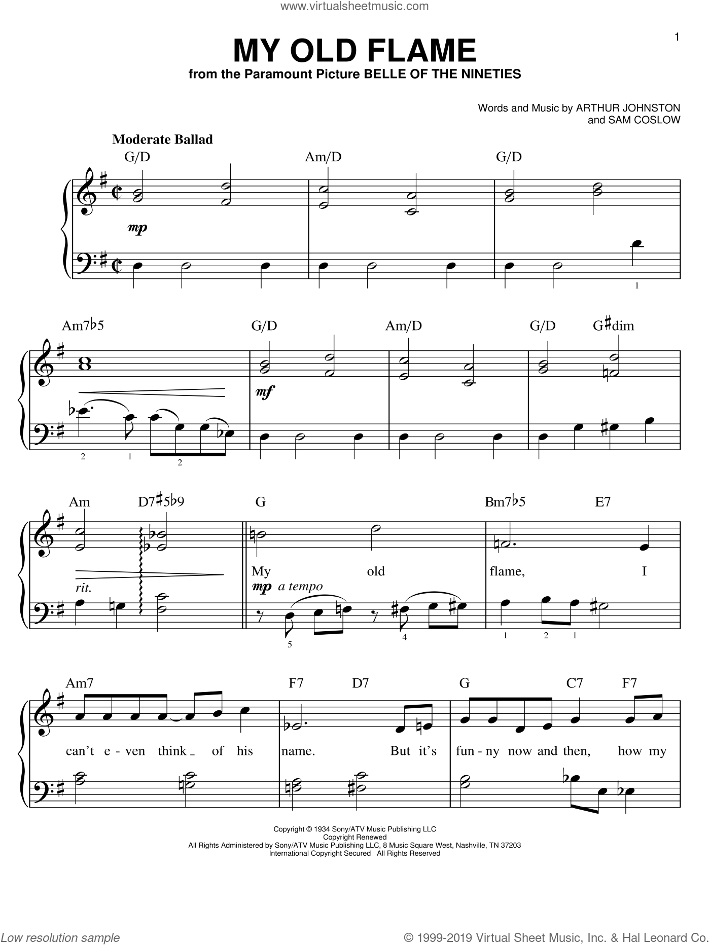 My Old Flame sheet music for piano solo by Peggy Lee, Arthur Johnston and Sam Coslow, easy skill level