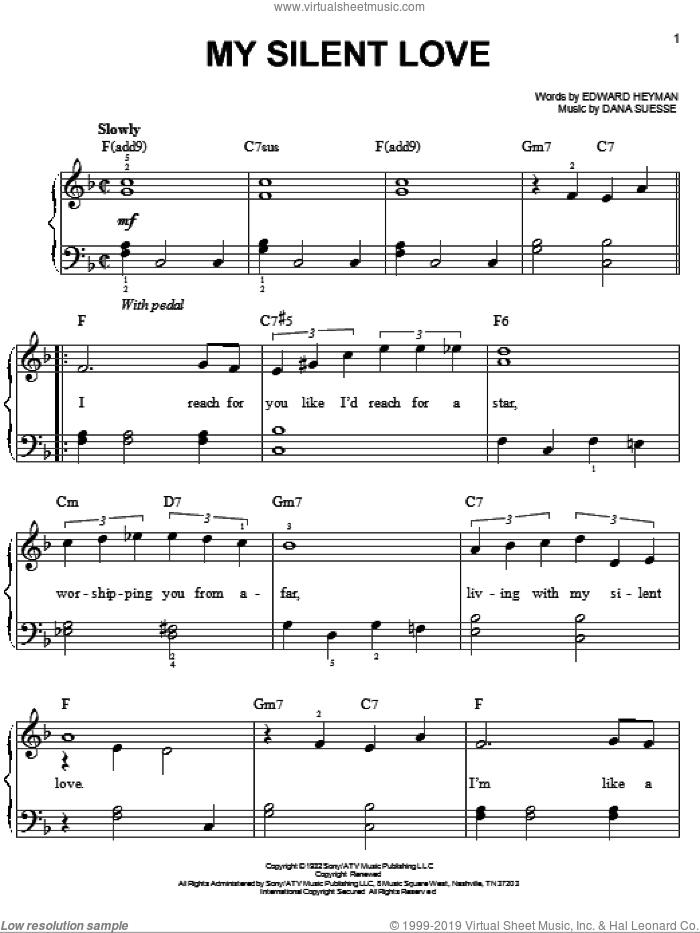 My Silent Love sheet music for piano solo by Edward Heyman and Dana Suesse, easy skill level