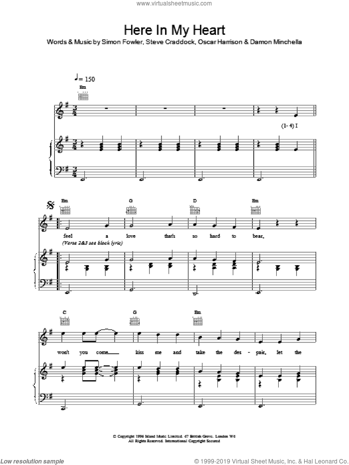 Here In My Heart sheet music for voice, piano or guitar by Ocean Colour Scene. Score Image Preview.