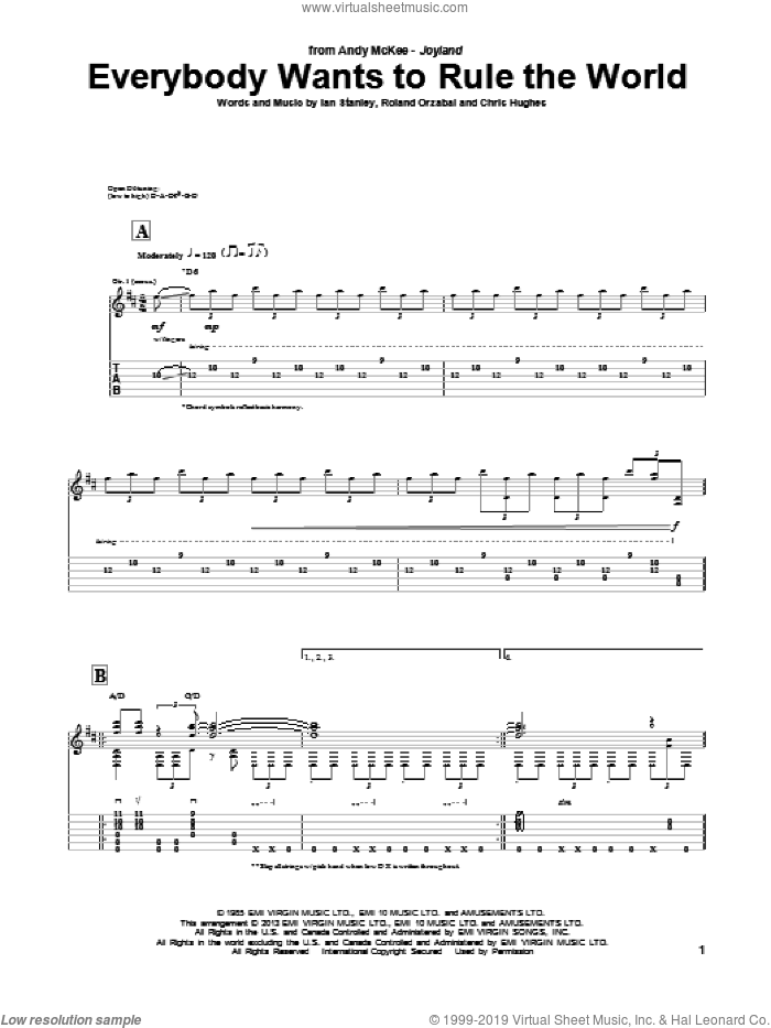 Everybody Wants To Rule The World sheet music for guitar (tablature) by Andy McKee, Tears For Fears, Chris Hughes, Ian Stanley and Roland Orzabal, intermediate