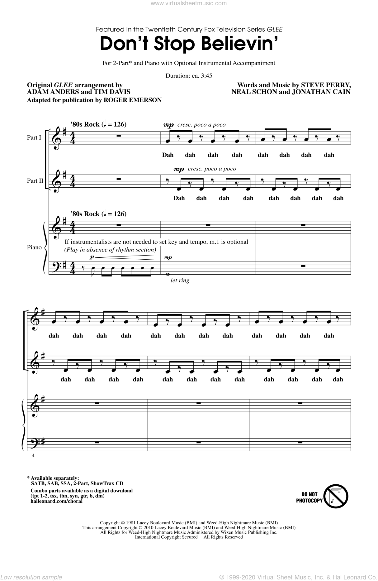Don't Stop Believin' sheet music for choir and piano (duets) by Jonathan Cain