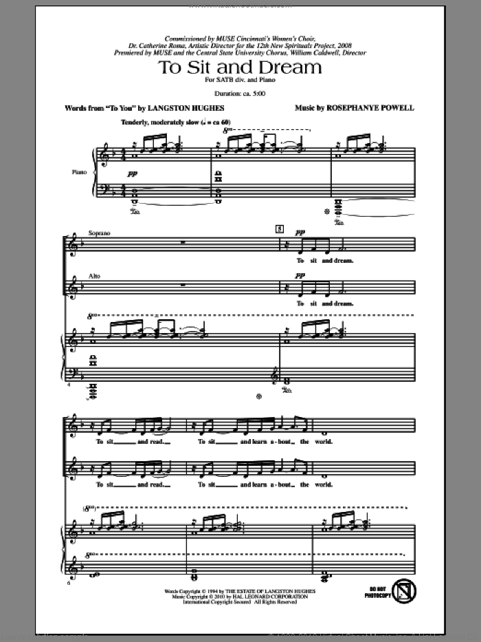 To Sit And Dream sheet music for choir and piano (SATB) by Rosephanye Powell and Langston Hughes. Score Image Preview.