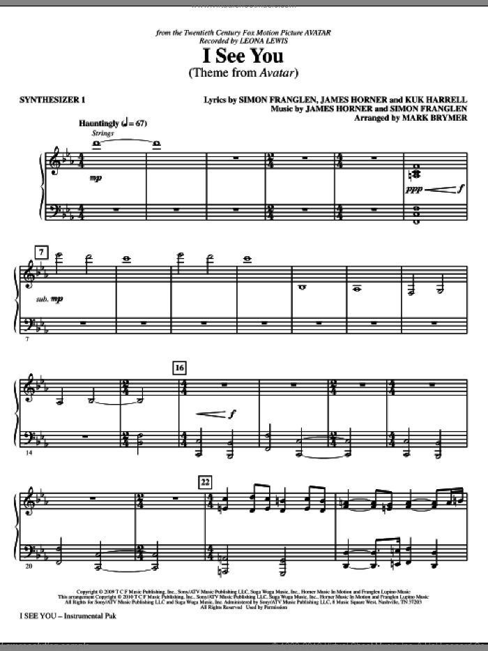 I See You (Theme from Avatar) (complete set of parts) sheet music for orchestra/band (Rhythm) by James Horner, Kuk Harrell, Simon Franglen, Leona Lewis and Mark Brymer, intermediate. Score Image Preview.