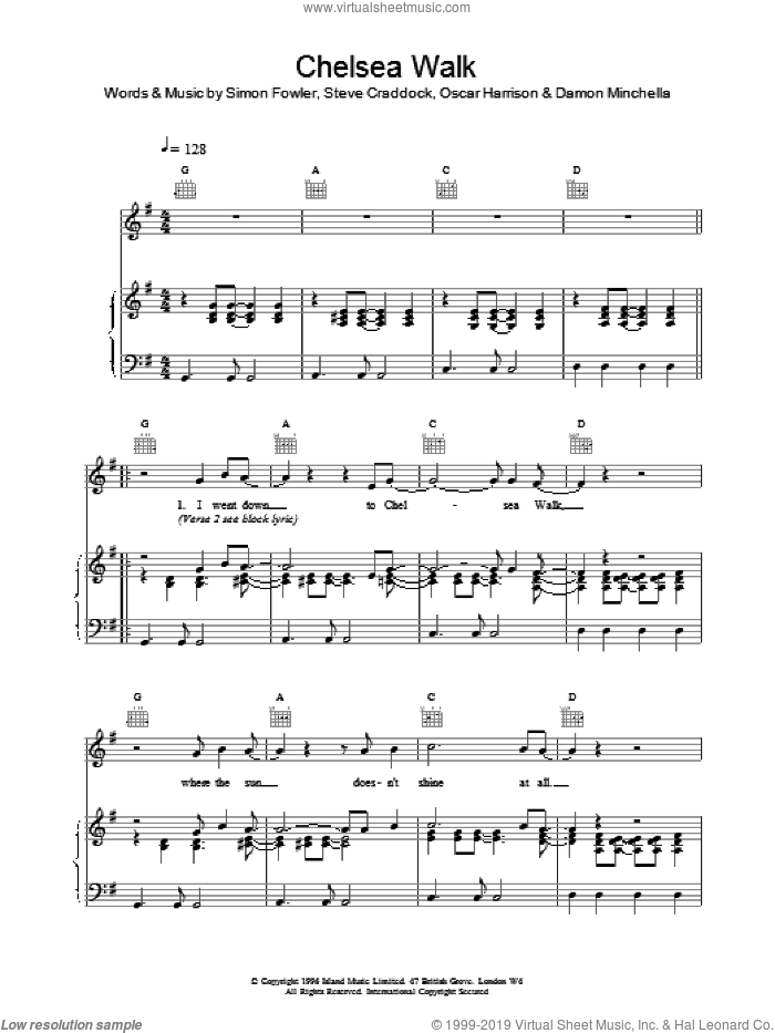 Chelsea Walk sheet music for voice, piano or guitar by Ocean Colour Scene. Score Image Preview.