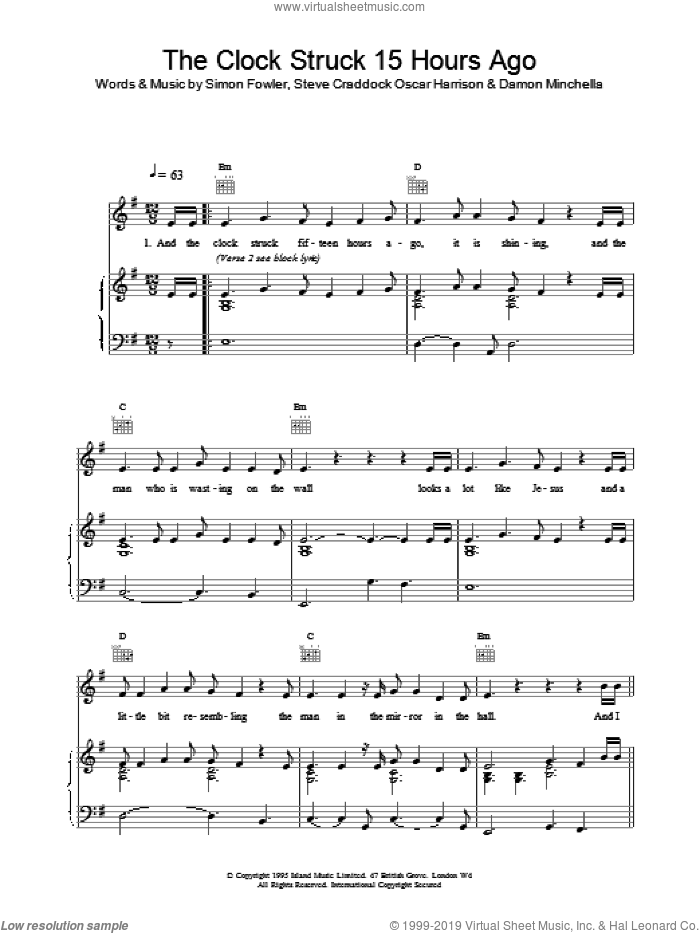 The Clock Struck 15 Hours Ago sheet music for voice, piano or guitar by Ocean Colour Scene, intermediate. Score Image Preview.