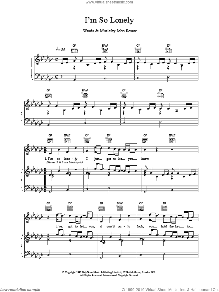 I'm So Lonely sheet music for voice, piano or guitar by John Power, intermediate skill level