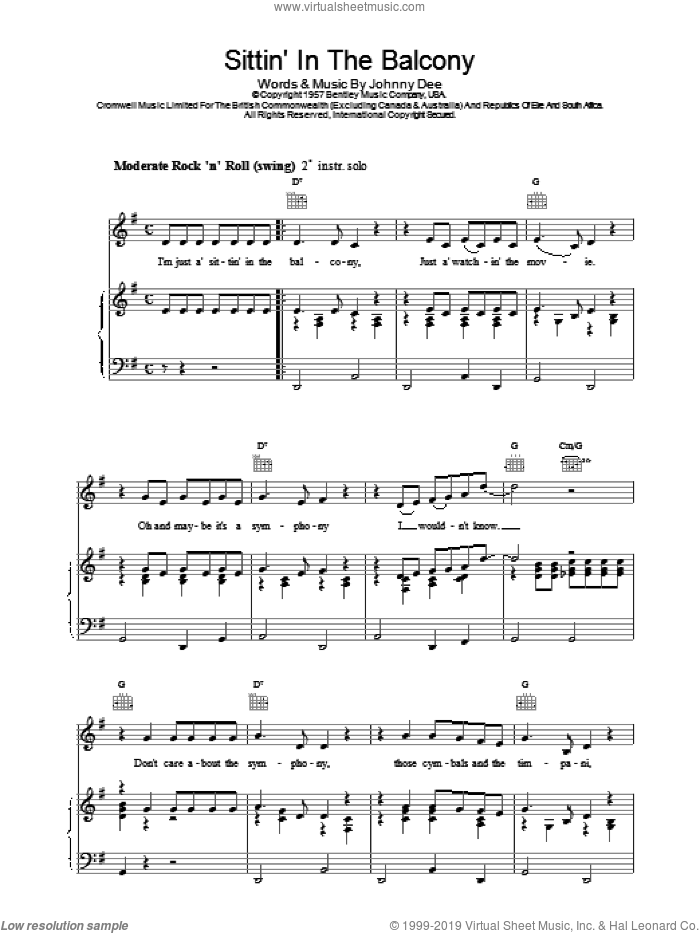 Sittin' In The Balcony sheet music for voice, piano or guitar by Eddie Cochran. Score Image Preview.