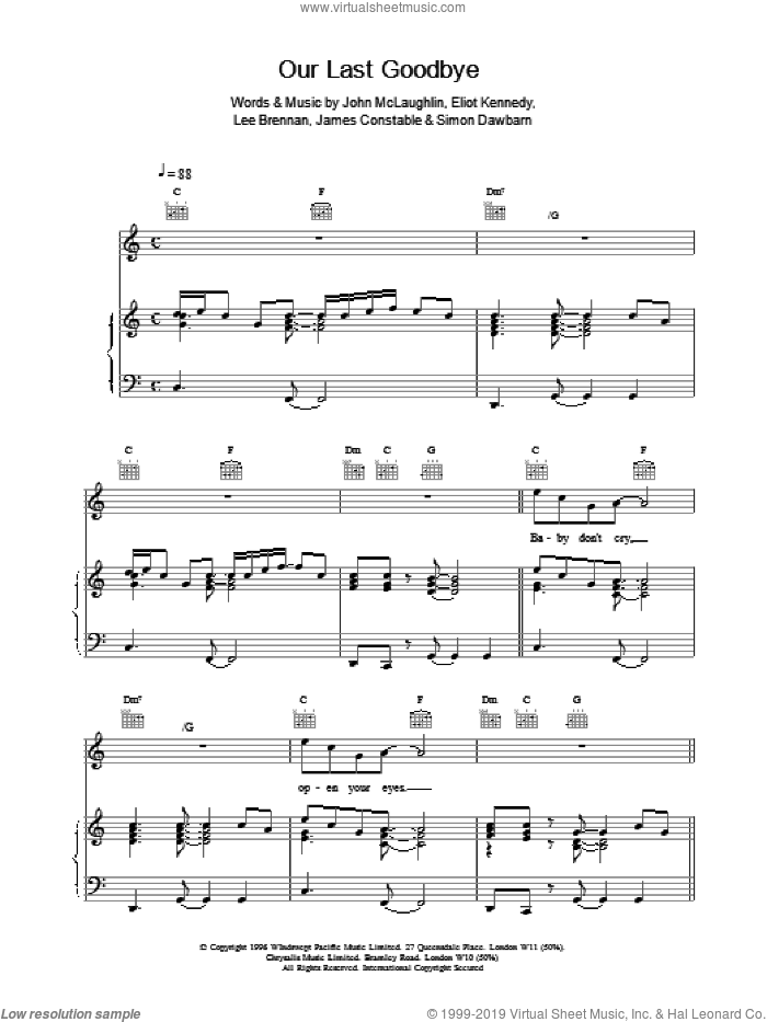 Our Last Goodbye sheet music for voice, piano or guitar by Eliott Kennedy