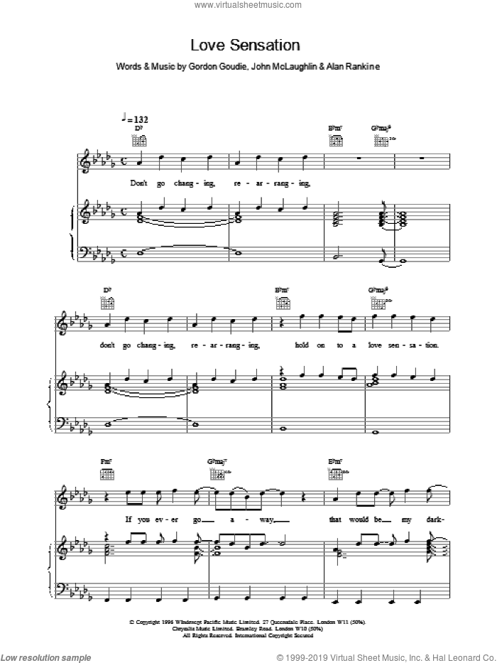 Love Sensation sheet music for voice, piano or guitar by McLaughlin,J & Rankine,A. Score Image Preview.