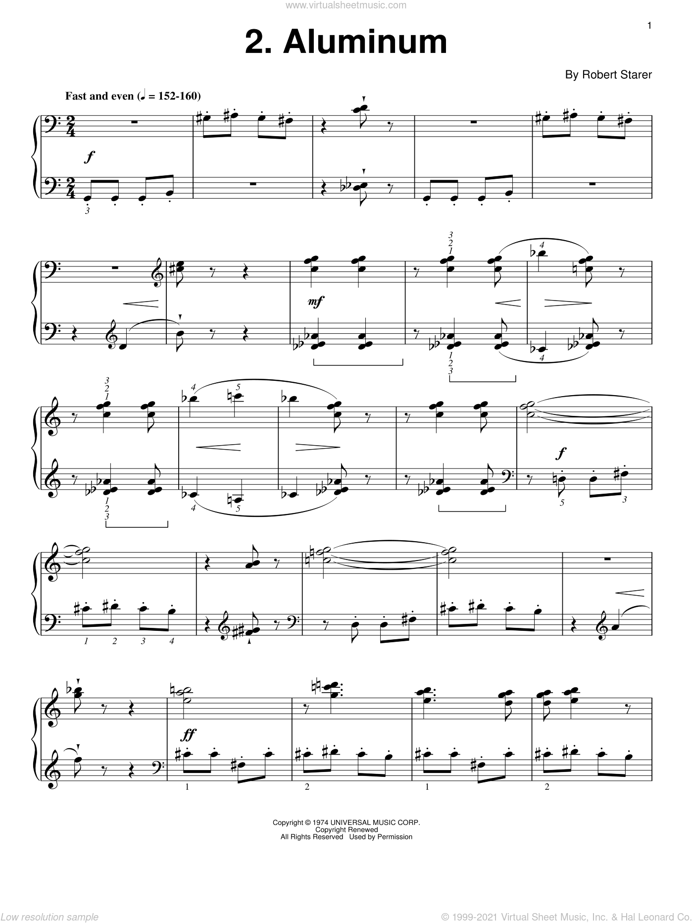 Aluminum sheet music for piano solo by Robert Starer and Dr. Carolyn True, intermediate skill level
