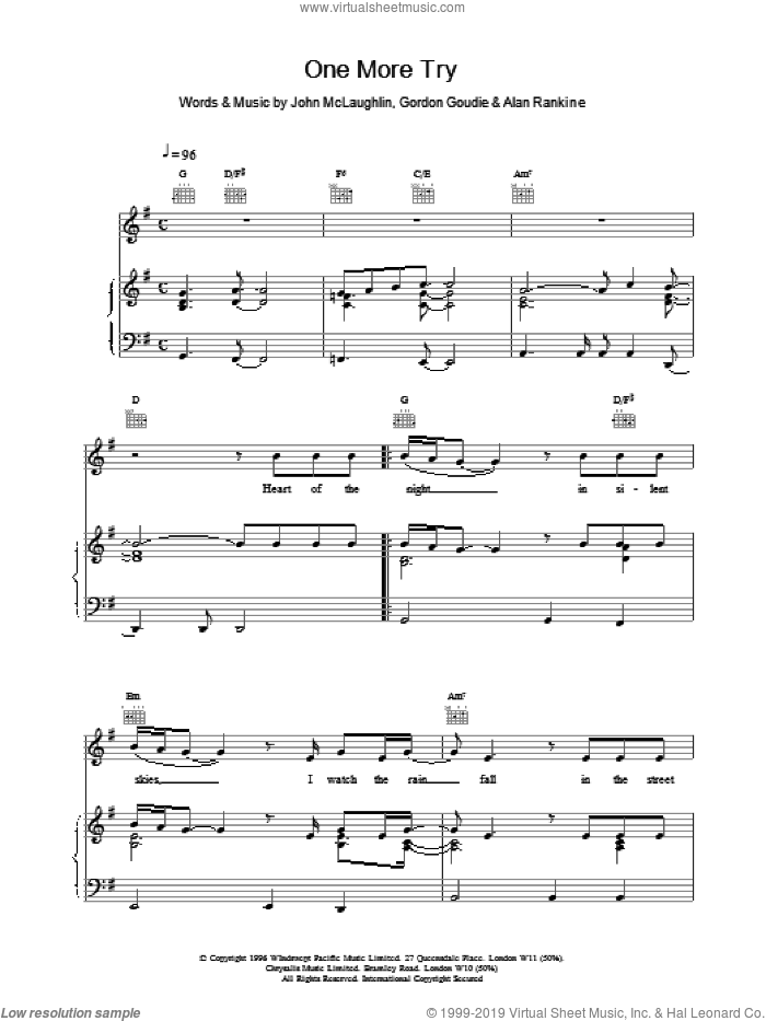 One More Try sheet music for voice, piano or guitar by 911, intermediate. Score Image Preview.